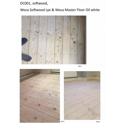 DC001 kit (e). WOCA softwood lye & Woca Master Floor Oil white floor kit. Work by hand 56 to 75m2.  (DC)