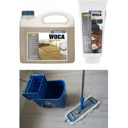Kit Saving: DC015, Premium care, Clean naturally oiled or UV-oiled floors inc Woca natural versions of Soap & Maintenance Gel plus a Breakframe Flat Mop & Bucket and wringer   (DC)