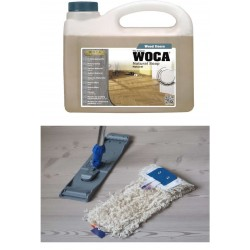 Kit Saving: DC024 Cleaning for Woca Neutral Oiled floors inc Woca Natural Soap Natural and Premium breakframe flat Mop  (DC)