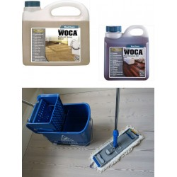 Kit Saving: DC122, Premium clean oiled floors inc Woca natural versions of Soap & Maintenance Oil plus Breakframe flat Mop & Bucket and wringer   (DC)