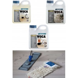 Kit Saving: DC143, Clean and care for a lacquered floor, incl 1ltr each Woca Lacquer Soap, Lacquer Care, Wood Cleaner, Breakframe mop & cloth (DC)